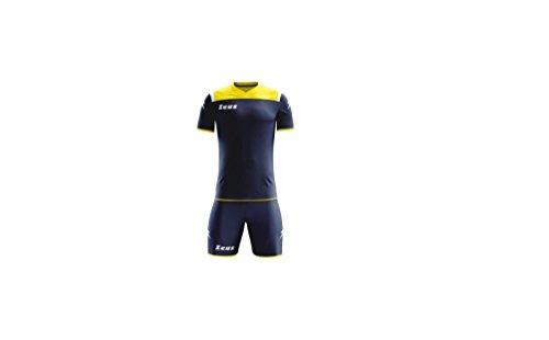 Zeus Completino Calcio, Calcetto Kit Vesuvio, Kit Gara, Allenamento. (Blu-Giallo-BIA, M)