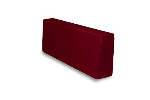 TexDeko Bezug für Schaumstoff, In- und Outdoor Rückenkissen Bordeaux 120x43x20/15cm