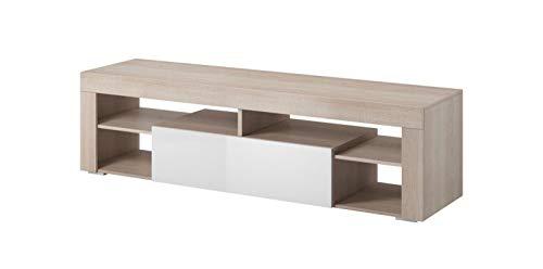 E-com Titan - Mueble para televisor con luz LED (140 cm, Roble Sonoma), Color Blanco