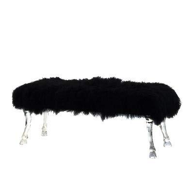 DWWSP Haus Dekoration Frankreich Entwurfs-Acryl Bank mit Cabriole Bein- und Klauen Fuß/Langen Hocker mit Wolldecke (Color : Black Wool)
