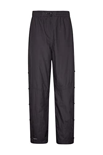 Mountain Warehouse Downpour Pantalones de Mens - Pantalones Impermeables de la Lluvia, Fondos de Breathable, Costuras grabadas, Ripstop, Cierre relámpago Negro Large