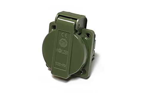 8 unidades / enchufes empotrables Schuko 16 A con IP54 / + junta de brida (verde oliva RAL6003)
