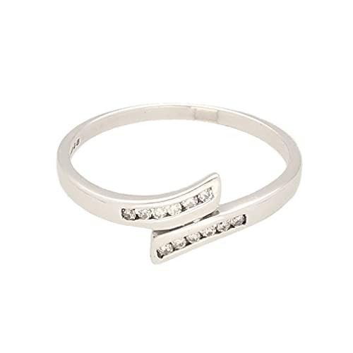 Anillo de eternidad para mujer de oro blanco de 9 quilates de 0,15 quilates (tamaño P) 7 mm de ancho, anillo de lujo para mujer