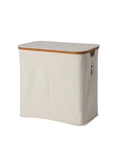 ABOUT YOU Cesto para la ropa 'Sorter' con dos compartimentos separados para clasificar la colada, plegable y espaciosa cesta para la colada de bambú y tela de lona, cesta de almacenamiento (beige)