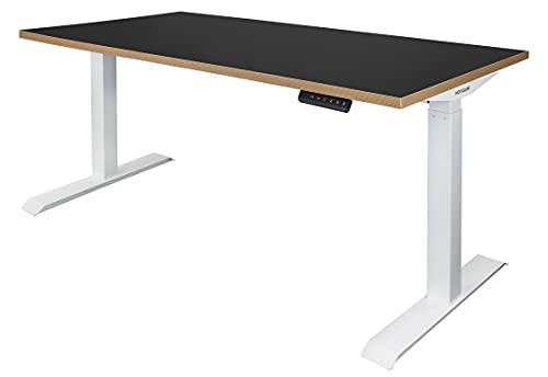 Elektrisch höhenverstellbarer Steh-Sitz Schreibtisch | Gestell weiß | Platte schwarz | Kante Multiplex | Maße BxTxH 1600 x 800 x 735-1205 mm | Ototo | Novigami