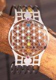Berg Blume des Lebens Armreif mit 7 Chakra Kristallen aus Edelstahl