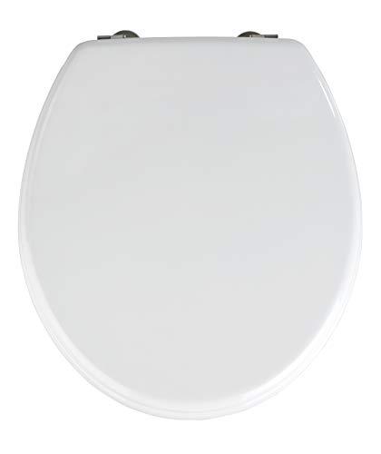 WENKO WC-Sitz Prima Weiß - Toilettensitz, Spülkasten geeignet, rostfreie Edelstahlbefestigung, MDF, 37 x 41 cm, Weiß