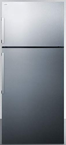 """Summit Appliance FF1511SS ENERGY STAR Certified Counter Depth 28"""" Wide 13 Cu.Ft. Top Mount Refrigerator-Freezer with Stainless Steel Door and Platinum Cabinet"""
