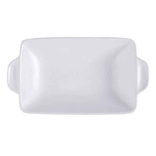 leader Plato rectangular de cerámica para hornear para asar lasaña, cacerola para horno, banquete y uso diario, color blanco