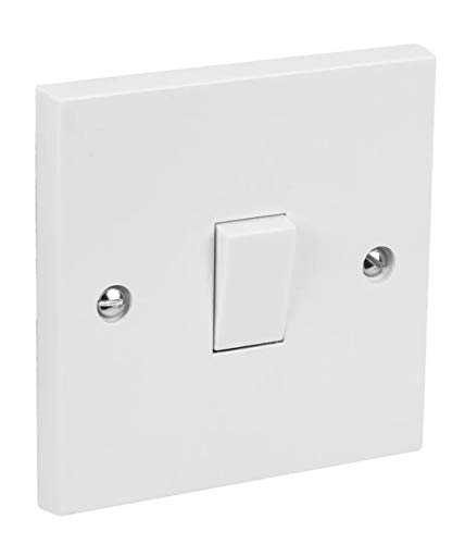 Single Gang Light Switch 1 Gang 2 Way White Plastic 10A