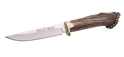 Muela Cuchillo GREDOS GRED-12S hoja de acero MoVa de 12 cm y empuñadura de roseta de ciervo para Caza, Pesca, Supervivencia y Bushcraft Realizado en Ciudad Real + Portabotellas de regalo