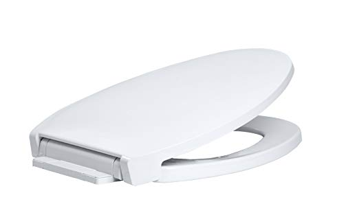 Centoco 1700SC-301 Elongated Plastic Toilet Seat with Slow Close, Luxury Model, Heavy Duty Residential, Crane White (Cotton/Bright)