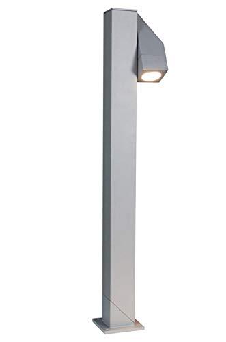Naeve Leuchten Energiespar-Außensockelleuchte/inklusiv Leuchtmittel / 1xGU10 / ESL 9W / h: 76.5 cm/b: 13 cm/d: 10 cm/Aluguss/Glas/silber matt 321959