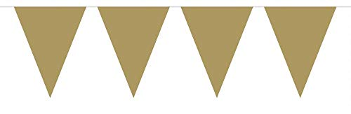 Bunting Gold 10m with 15 Flags, Triangle Plastic