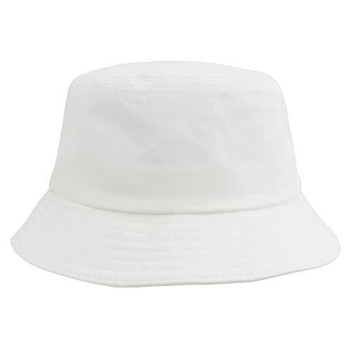 Umeepar 100% Baumwolle Fischerhut Sonnenhut Sommerhut Hut for Damen Herren (Schlicht weiß)