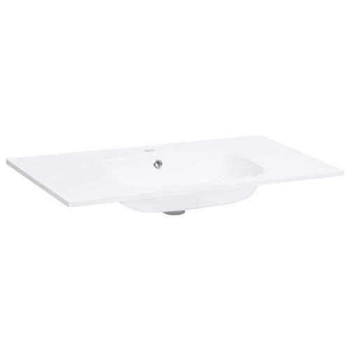 vidaXL Einbauwaschbecken Waschbecken Aufsatzwaschbecken Waschtisch Waschplatz Handwaschbecken Waschschale Badezimmer 900x460x105mm SMC Weiß