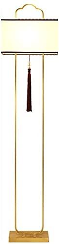 IOUYRRN Chino All-Cobre Sala de Estar Lámpara de pie, Moderno Zen Estilo Chino Lámpara clásica de la lámpara de Mesa Vertical, para la habitación de la habitación Sala de Estudio Dormitor