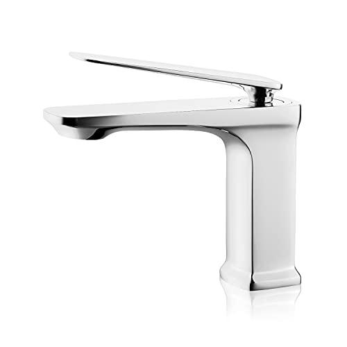 HUCKLE Rubinetti per lavabo, miscelatore per lavabo in ottone massiccio senza piombo, rubinetti per lavabo con maniglia singola, cromo