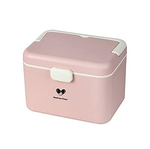 DLILI Caja de Almacenamiento portátil Caja de Primeros Auxilios Organizador de botiquines domésticos para el hogar y al Aire Libre Contenedor de medicamentos domésticos de Varias Capas (Rosa, 15.5
