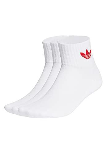 Adidas GN3083 MID ANKLE SCK Socks unisex-adult white/scarlet L