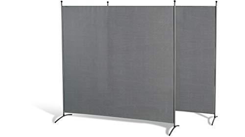 GRASEKAMP Qualität seit 1972 Doppelpack Stellwand 180x180 cm - grau - Paravent Raumteiler Trennwand Sichtschutz