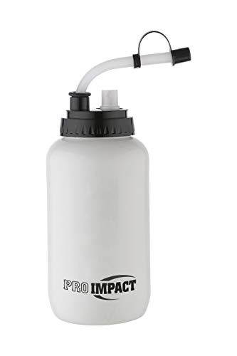 Pro Impact Boxing Water Bottle - Squeezable Plastic w/Long Straw & Spray Cap - Ideal for Gym Yoga Sports Boxing Lacrosse Football Hockey Cycling & Outdoors (35.5 Oz.) (White)