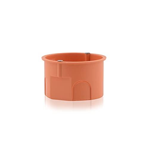 Caja de distribución para empotrar (orificio fresado, diámetro 63 mm, altura 40 mm, protección IP30, 650 °C, incluye tornillos), color naranja