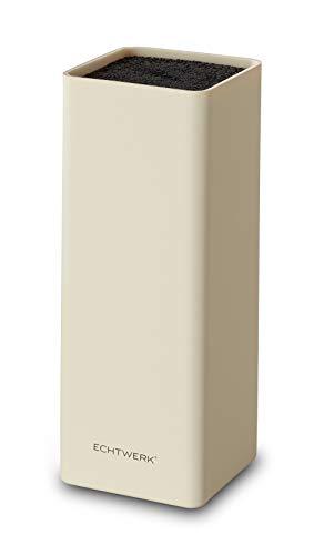Echtwerk EW-MB-0105 Universal-Messerblock Square mit Borsteneinsatz, Creme, Kunststoff