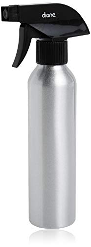 """Diane Aluminum Spray Bottle Applicator with Nozzle for Hair Styling and Coloring – Small - 9.4"""" x 1.5"""", 8oz Capacity – Silver"""