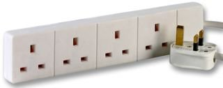 Cable-Core 2m White 4 Gang Power Strip Extension Cord Mains Plug