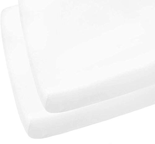 2 X Cot Bed Fitted Sheets, 60 x 120 cm - White