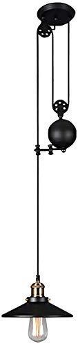 Lámpara Colgante Industrial de Metal Negro, lámpara Colgante Ajustable Vintage, Accesorio de iluminación para Mesa de Billar, Granja