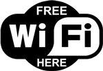 """KustomSkinz Stickers Free WiFi Here Decal - Black 4.125"""" x 6"""""""