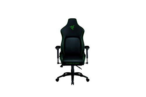 Razer Iskur Silla para juegos con soporte lumbar integrado, silla de escritoriode oficina, cuero sintético multicapa, relleno de espuma, almohadilla para la cabeza, altura ajustable, negro/verde
