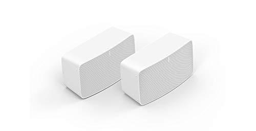 Sonos Five | Stereo Paar | WLAN Speaker, weiß – Leistungsstarker WLAN Lautsprecher für Musikstreaming mit bestem, kristallklarem Stereo HiFi Sound – AirPlay kompatibler Multiroom Lautsprecher