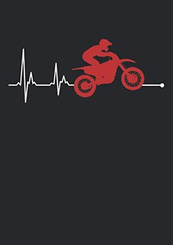 Notizbuch A4 punkte mit Softcover Design: Crossbike Enduro Motorradfahrer Herz Herzschlag Herzfrequenz: 120 dotted (Punktgitter) DIN A4 Seiten