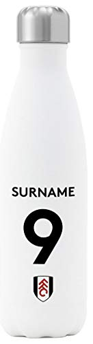 Personalised Fulham FC Back Of Shirt Insulated Water Bottle - White