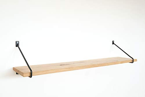 1x Natural Goods Berlin | Design Wandregal Eiche 100cm | viele Farben & Modelle | Regalboden Massivholz Metall Schweberegal hängend, Regalwinkel, Konsole (Regal PRENZLBERG (20cm Tiefe), Schwarz)