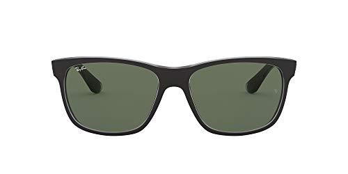 Ray-Ban Unisex RB4181 Sonnenbrille, Mehrfarbig (Gestell: Vorderseite schwarz, Rückseite grau transparent Glas: grün 6130), Large (Herstellergröße: 57)