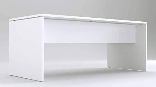 TIME Scrivania per Ufficio Bianca | Larghezza 180 cm | profondità 80 | Altezza 73 cm