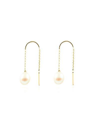 Dames & kinderen ketting parel oorbellen - geel goud 9 karaat (375)