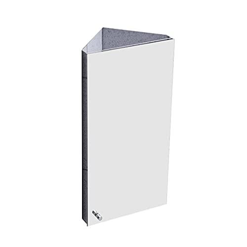 Badrum triangel spegelskåp, väggmonterad förvaringsskåp, rostfritt stål hörnskåp, medicinskåp med spegel (Color : Silver, Size : 30 * 60cm(left door))