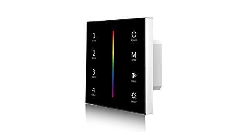 LEDUX RGB-Controller 12-24V Dimmer-Panel, Wandschalter Farbsteuerung, Max 288W, 2.4G Funk (Touch-Panel, Schwarz)