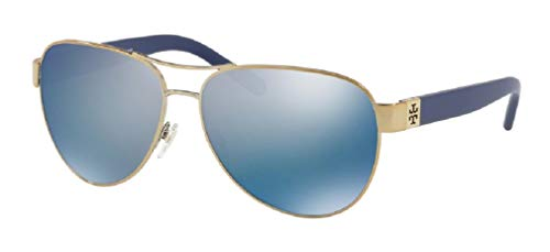 Tory Burch TY6051 304122 60M Gold/Blue Flash Polarized Aviator Sunglasses For Women+FREE Complimentary Eyewear Care Kit