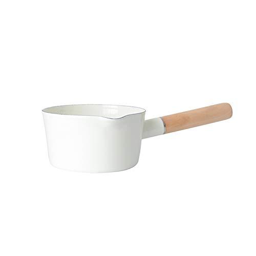 HUSHUN Portable Mini Latte Riscaldamento pentola Antiaderente,casseruola,pentola da Cucina per Uso Domestico,Candy Color Latte Riscaldamento Formaggio-Bianco 15 cm