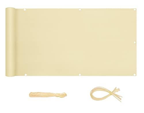 Sekey Recinzione Copertura per Balcone Protezione della Privacy Schermo in Polyster Senza Viti Permeabile per Estate ed Inverno Opaco, con Occhielli e Fascetta, 90 x 300cm