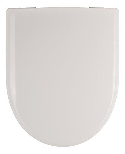 WC-Sitz für Keramag Renova Nr. 1 mit Absenkautomatik, in weiß, überlappende D-Form, antibakterieller Duroplast Toilettendeckel, mit Edelstahlscharnieren, Ersatz-Toilettensitz für Keramag, 03984 0