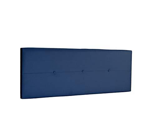 DHOME Cabecero de Polipiel o Tela AQUALINE Pro cabeceros Cabezal tapizado Cama Lujo (Polipiel Azul, 145cm (Camas 120/135/140))