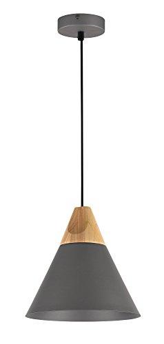 Moderna Lampada pendente a sospensione da Soffitto, per interni, Design nordic, in metallo nero chiaro e legno, paralume cono, filo lungo, altezza regolabile 1 lampadina E27 60W 220-240V non incl