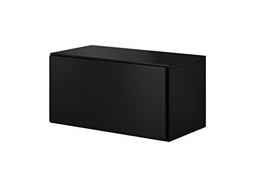 furniture24_eu Wandschrank Hängeschrank (Schwarz Matt, 75,5/37,5/39 cm B/H/T)